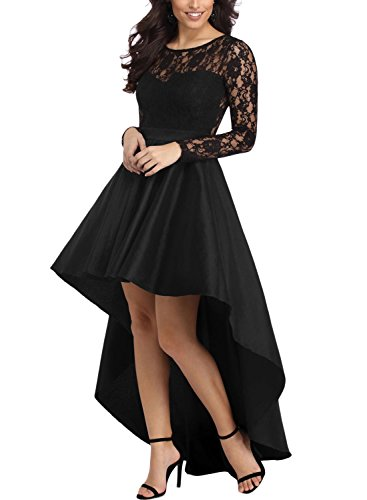 AlvaQ Womens Laides Elegant Summer Long Sleeve High Low Skater Party 2018 Dress Homecoming Bridesmaid Evening Cocktail Dresses Black Large