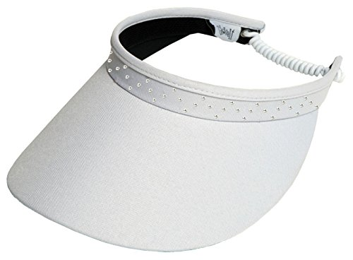 (Glove It Women's Adjustable Coil Visor Golf & Tennis Head Visors for Women - UV 50 Protection - Ladies Sun Visor Hat - Large Wide Brim - White Bling)