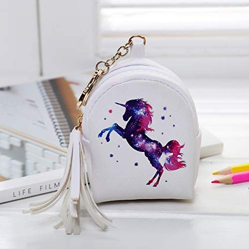 Unicorn Gifts for Girls 10 Pack Unicorn Drawstring Backpack/Make Up Bag/Coin Purse/Necklace/Bracelet/Hair Ties/Hair Clip/Keychain/Sticker/Card Girls Unicorn Party (Unicorn Purple Set 1-10 PACK)