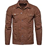 Sharemen Mens' Autumn Winter Long Sleeve Demin Jacket Tops Coat Outwear