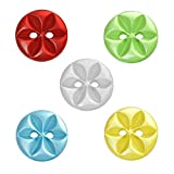 Souarts Mixed Flower Round 2 Holes Resin Buttons for Sewing Crafting Pack of 100