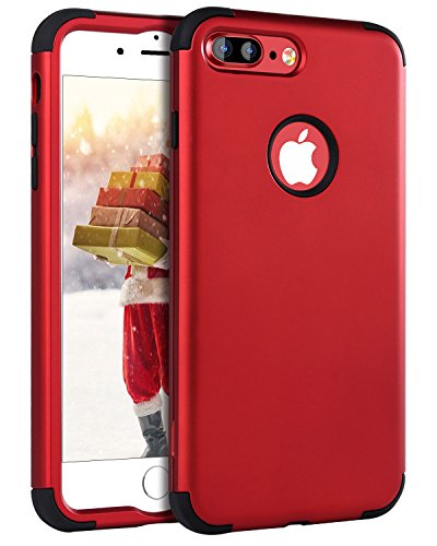iPhone 7 Plus Case Red, iPhone 7 Plus Case, BENTOBEN Slim Shockproof 3 in 1 Hard PC Soft Silicone Hybrid Coated Full-Body Protective Phone Cover Case for iPhone 7 Plus (Christmas Hard Case)