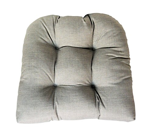 Sunbrella Cast Silver Large Wicker Chair Cushion - Indoor / Outdoor 1 Tufted Wicker Chair Seat Cushion - Frosty Grey