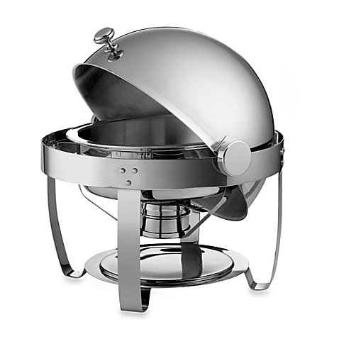 Tramontina 6-Quart Round Stainless Steel Chafing Dish with Roll-Top Lid
