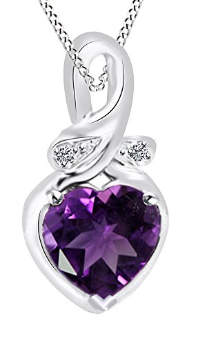 Simulated Amethyst & Cubic Zirconia Pendant in 14k White Gold Over Sterling Silver (4.02 Cttw) (Amethyst Cubic Zirconia Pendant)
