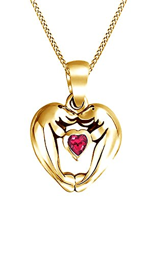 Jewel Zone US Simulated Ruby Loving Sea Lions Manatee Heart Pendant Necklace in 925 Sterling Silver