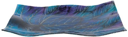 AngelStar 19033 Handmade and Hand-Painted Glass Angel Feather Rectangular Plate, 13-Inch