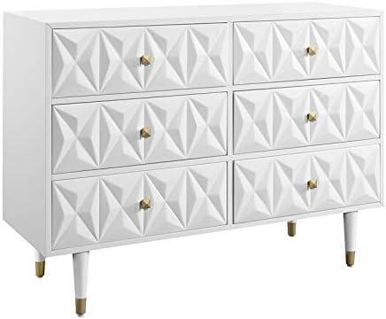 Riverbay Furniture 6 Drawer Geo Texture Dresser in White