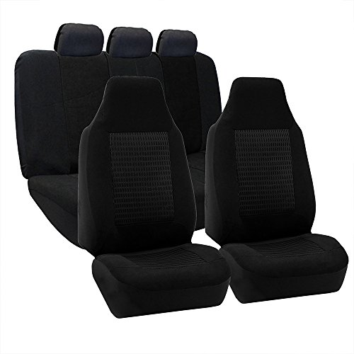 FH Group FB107BLACK115 Seat Cover (Premium Fabric Full Set Airbag Compatible Black)
