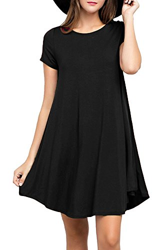 Trapeze Dress (Viishow Women's Casual Plain Short Sleeve Simple Tshirt Loose Dress Black S)