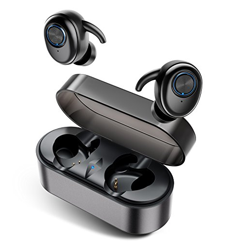 Wireless Earbuds, AairHut A2 Sweatproof Bluetooth 5.0 Stereo 3D Sound True Wireless Bluetooth Earbuds 15 Hour Playtime In-ear Headphones with 28 Hour Playtime for Mono Mode and Easy Pair Tech