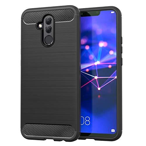 MoKo Huawei Mate 20 Lite Case, Soft Lightweight TPU Bumper Cover Carbon Fiber Design Anti-Scratch Slim Back Panel Shock Aborsption Cellphone Shell Fit with Huawei Mate 20 Lite - Black