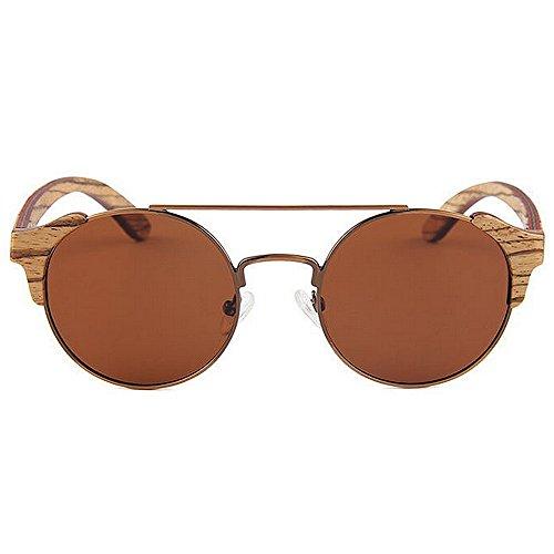 Yxsd Frame Sun Glasses Brown Round Green Sol polarizadas Gafas Retro Color Classic Unisex Metal de fq8fr