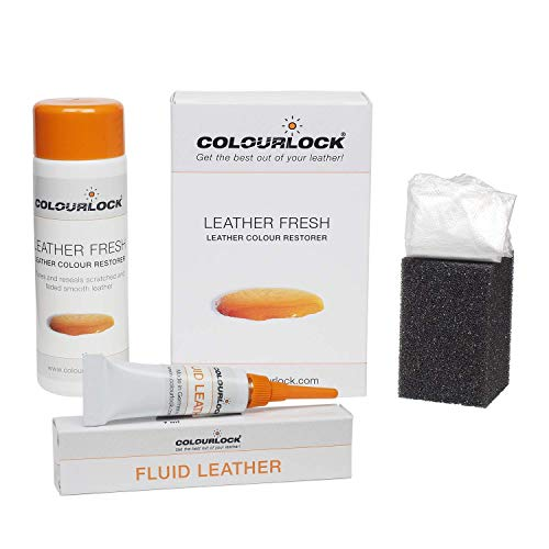 Colourlock Leather Fresh Dye 150 ml & Fluid Leather Filler to Repair Scuffs, Colour damages, Light Scratches on Side bolsters and car interiors Compatible with Audi Amarettobraun/Amaretto Brown