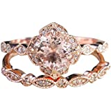 2 in 1 Women Rose Gold Filled Wedding Engagement Flower and Leaf Shape Ring Ring Under 5 Dollars Valentine's Day Gifts for Girlfriend Boyfriend (US Size)
