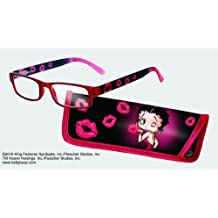 Eye Style Reading Glasses with Matching Eyeglass Case - Choose from +1.50, +2.00, +2.50, +3.00 (+2.50, Betty Boop Kisses) by Spoontiques