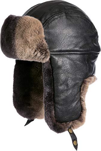 (Lambskin Leather Trapper Hat with 2-Tone Rabbit Fur Trim Black/Brown)