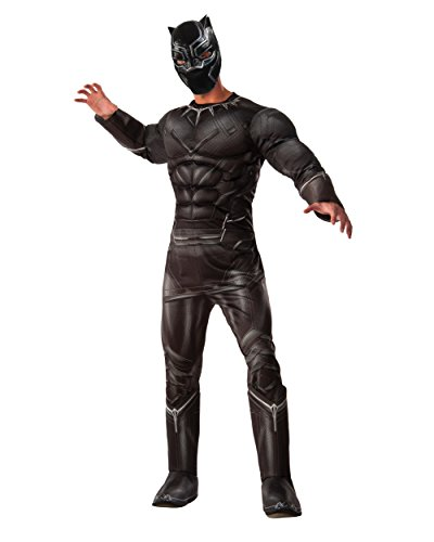 Marvel Men's Captain America: Civil War Deluxe Muscle Chest Panther Costume, Black, (Marvel Costumes Adult)