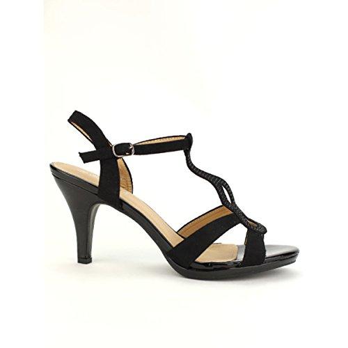 Femme Cendriyon Mode Chaussures Noire Belleli Sandale Noir wTxfqvZpXx