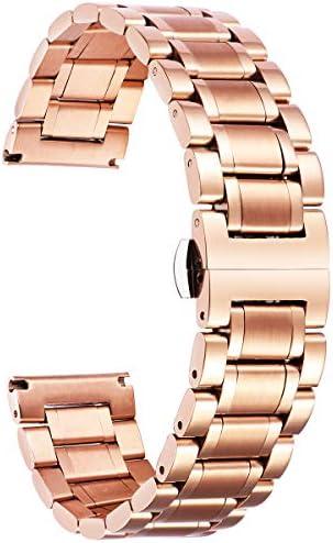 時計バンド ステンレスベルト ウォッチベルト 交換ベルト 腕時計バンド 高品質 耐久性高い 錆び難い 肌に優しい クイックリリース メッシュ 男女通用 バレンタインプレゼント 調整工具付 防水 5色 9サイズ (20mm, ローズゴールド)