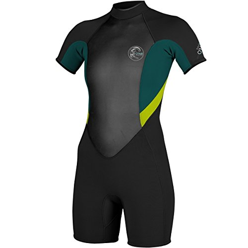 O'Neill Wetsuits Womens 2/1 mm Bahia Short Sleeve Spring Wetsuit, Black/Deep Teal/Lime, Size 6
