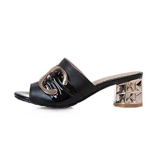 Sandales Boucle en MissSaSa Ouvert Noir Bout Métal Femmes Décoration q5w56xB4