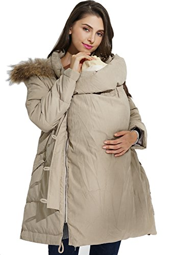 Sweet Mommy Maternity and Mother's Down Coat with baby wearing pouch Beige, M (Petite Coat Maternity)
