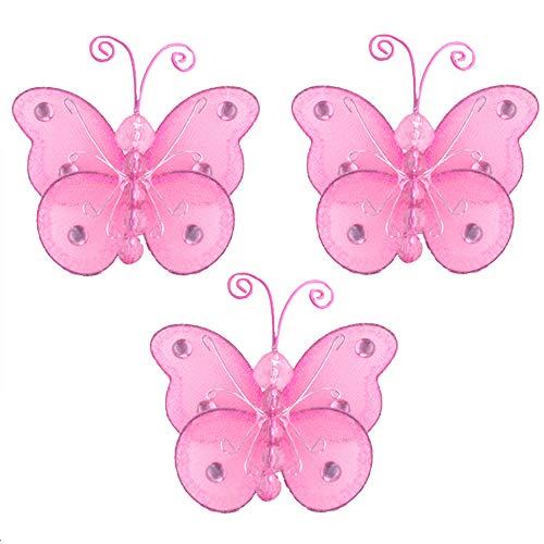 "Butterfly Decor 3"" Dark Pink Fuchsia Mini X-Small Wire Hangi"