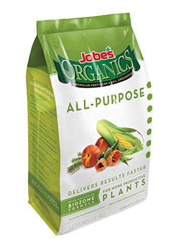 Jobe's Organics All Purpose Fertilizer with Biozome, 4-4-4 Organic Fast Acting Granular Fertilizer for All Plants, 4 pound bag