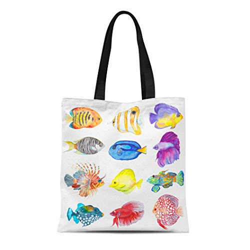 Semtomn Cotton Canvas Tote Bag Watercolor Colorful Fishes Flame Angelfish Copperband Butterflyfish Purple Mask Reusable Shoulder Grocery Shopping Bags Handbag ()