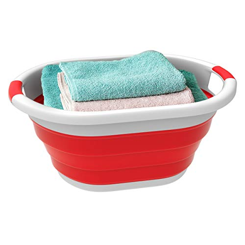 Lavish Home Collapsible Laundry Basket-Space Saving Pop Up Clothes, Multiuse Organizer/Storage Container with Comfort Grip Handles (Red) -