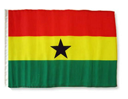 ALBATROS 12 inch x 18 inch Ghana Sleeve Flag for use on Boat, Car, Garden for Home and Parades, Official Party, All Weather Indoors Outdoors