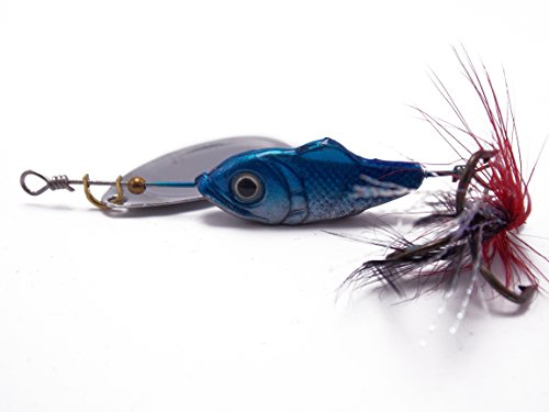 The BLUE inline single blade spinners 5pcs with Dressed VMC trble hook (In Blades Line Spinner)