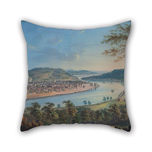Slimmingpiggy Throw Cushion Covers Of Oil Painting John Caspar Wild - View Of Cincinnati From Covington 20 X 20 Inches / 50 By 50 Cm,best Fit For Floor,study Room,pub,indoor,gril Friend,girls Twin (Cincinnati Reds Tire Cover compare prices)