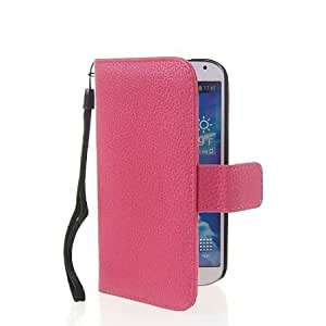 Bloutina MOONCASE Litchi Skin Flip Leather Wallet Card Pouch Stand Case Cover For Samsung Galaxy S4 I9500 Hotpink