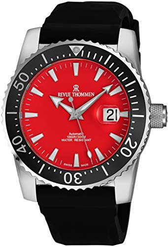 Revue Thommen Automatic Diving Watch for Men - Stainless Steel 45mm Analog Red Face Dive Watch with Luminous Hands and Date - Black Rubber Band Waterproof Swiss Made Mens Diver Watch 17030.2536