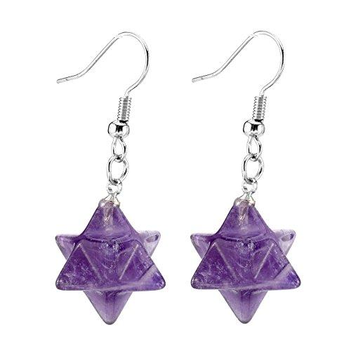 - QGEM Natural Amethyst Merkaba Star Energy Healing Crystal Dangle Hook Earrings Jewelry for Womens Girls