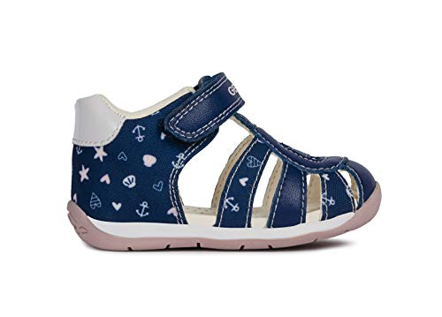 Geox Baby Each Girls Leather Sandals/Infant/Toddler, Navy, 7.5