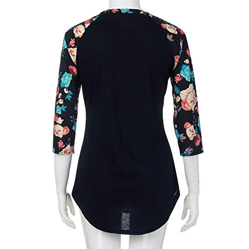 Femme Tops Chemises Top Shirt Floral O Et Marine Cou Chemisiers Trimestre Tee Print Chic Casual T Beikoard Chemisier Blouse Trois 7qnwStSO