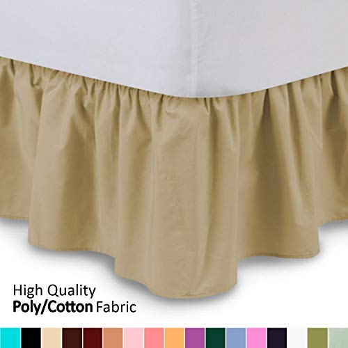 Ruffled Bed Skirt (King, Gold) 14 Inch Drop Dust Ruffle with Platform, Wrinkle and Fade Resistant - by Harmony Lane (Available in All Bed Sizes and 16 Colors)