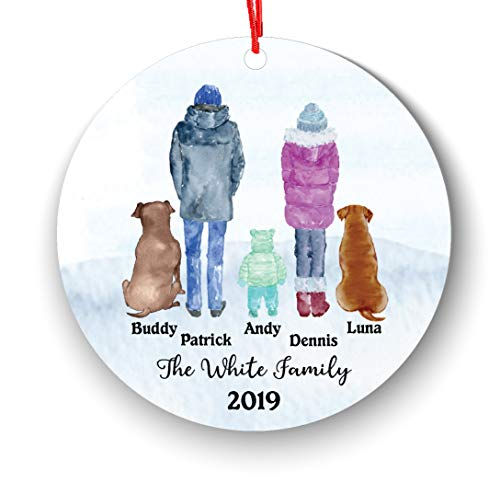 Personalized Family of 3 Children Boy Girl Kids Baby with Pet Dog Cat Owner Christmas Ornament Parents Pet Lover Gifts Custom Portrait Fur Mom Dad with Beautiful Snow Scene (Family of 3 with pet) (Family Christmas Portrait Cat)