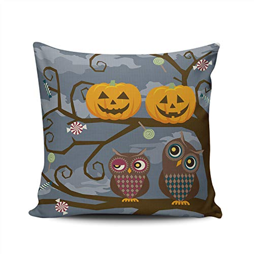 WEINIYA Bedroom Custom Decor Cute Owl and Halloween Pumpkins Throw Pillow Cover Elegant Design Double Sides Printed Patterning Square 16x16 Inches]()