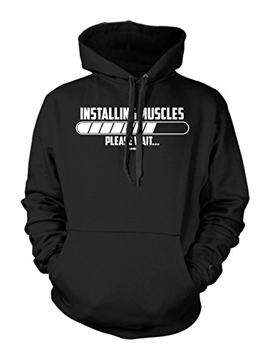 Installing Muscle - Please Wait Men's Hoodie Sweatshirt (Large, BLACK)