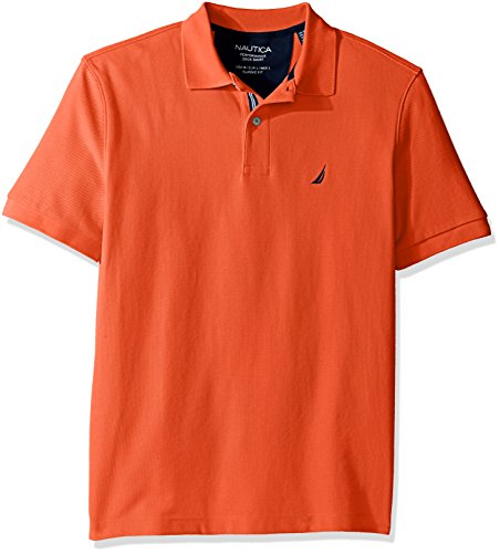 Nautica Men's Classic Short Sleeve Solid Polo Shirt, Tiger Lily, Small