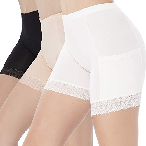Blulu 3 Pieces Safety Pants Lace Yoga Shorts Stretch Underwear with Pockets for Women Girls Wearing Supplies (L, Color Set 1)