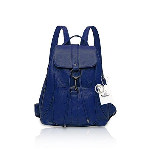 Yoome stilvolle reine Farbe Kuh Leder Rucksack Fit Allzweck Umhängetasche multifunktionale Tasche für Frauen Burgund Königsblau
