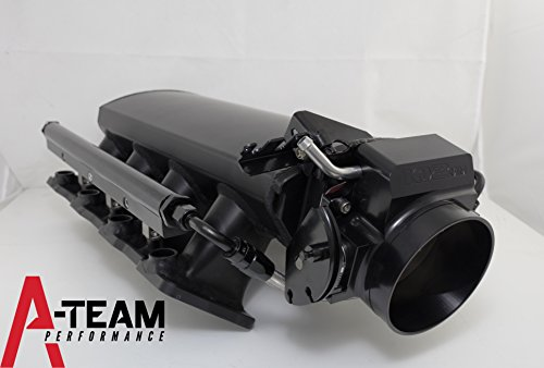 A-Team Performance SHORT FABRICATED BLACK GM LS LS1 LS2 LS6 EFI INTAKE MANIFOLD W/ FUEL RAILS & THROTTLE BODY 15° THROTTLE (Ls6 Intake Manifold)