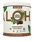 ALOHA Organic Plant Based Protein Powder, Chocolate, 19 oz, 15 Servings, Vegan, Gluten Free, Non-GMO, Stevia Free, Soy Free, Dairy Free
