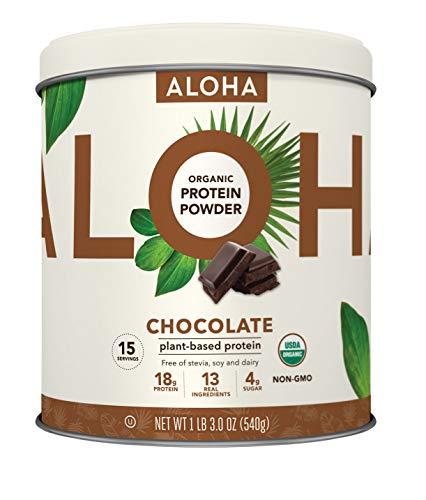 - ALOHA Organic Plant Based Protein Powder, Chocolate, 19 oz, 15 Servings, Vegan, Gluten Free, Non-GMO, Stevia Free, Soy Free, Dairy Free