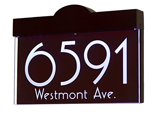 12V DC Auto On/Off Custom Illuminated House Numbers Address Sign Address Plaque Lighted with LED - Laser Engraved On Acrylic Sign with Wood ()